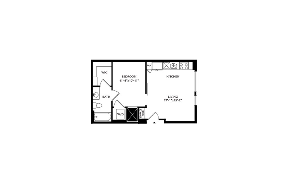 0A - Studio floorplan layout with 1 bath and 535 square feet.