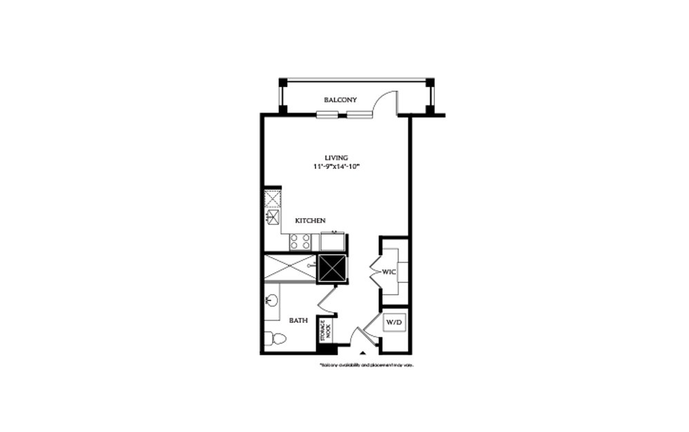 0B - Studio floorplan layout with 1 bath and 517 square feet.