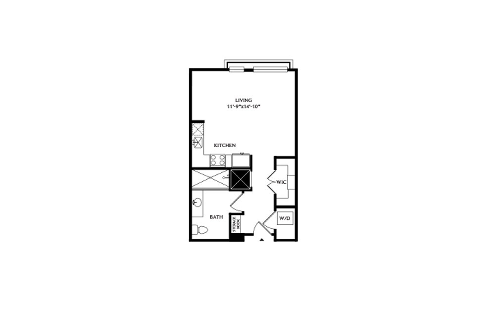 0B.1 - Studio floorplan layout with 1 bath and 579 square feet.