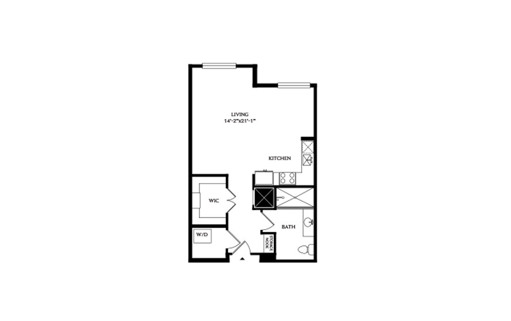 0C - Studio floorplan layout with 1 bath and 638 square feet.
