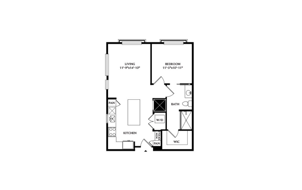 1A - 1 bedroom floorplan layout with 1 bath and 715 square feet.