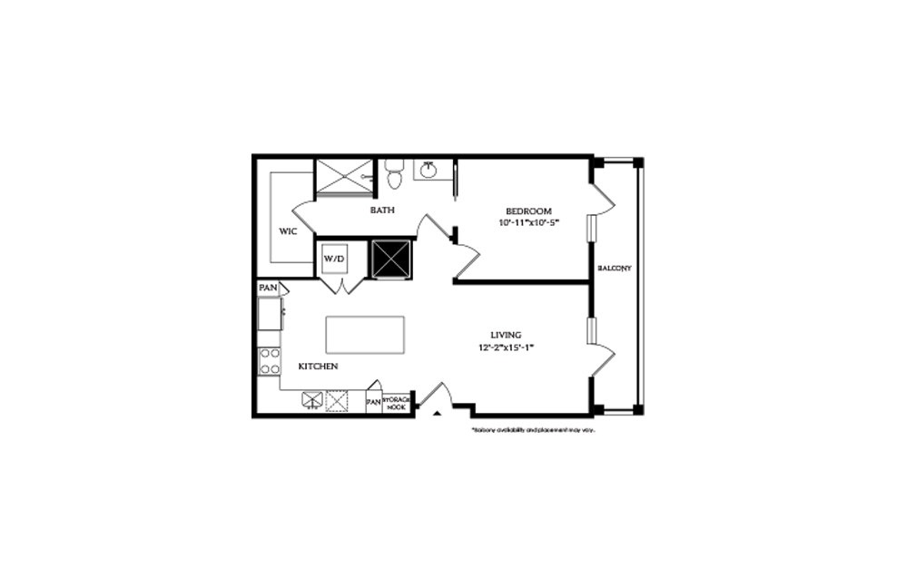 1B - 1 bedroom floorplan layout with 1 bath and 715 square feet.