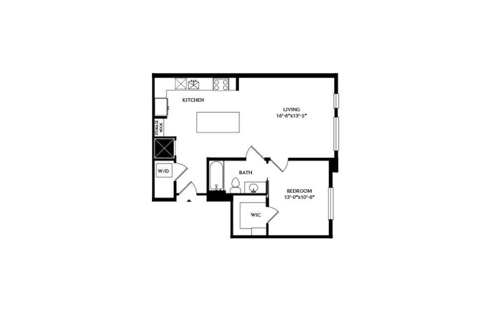 1C - 1 bedroom floorplan layout with 1 bath and 745 square feet.
