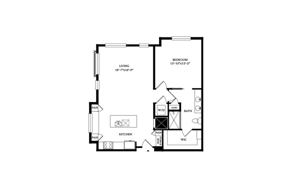 1D - 1 bedroom floorplan layout with 1 bath and 945 square feet.