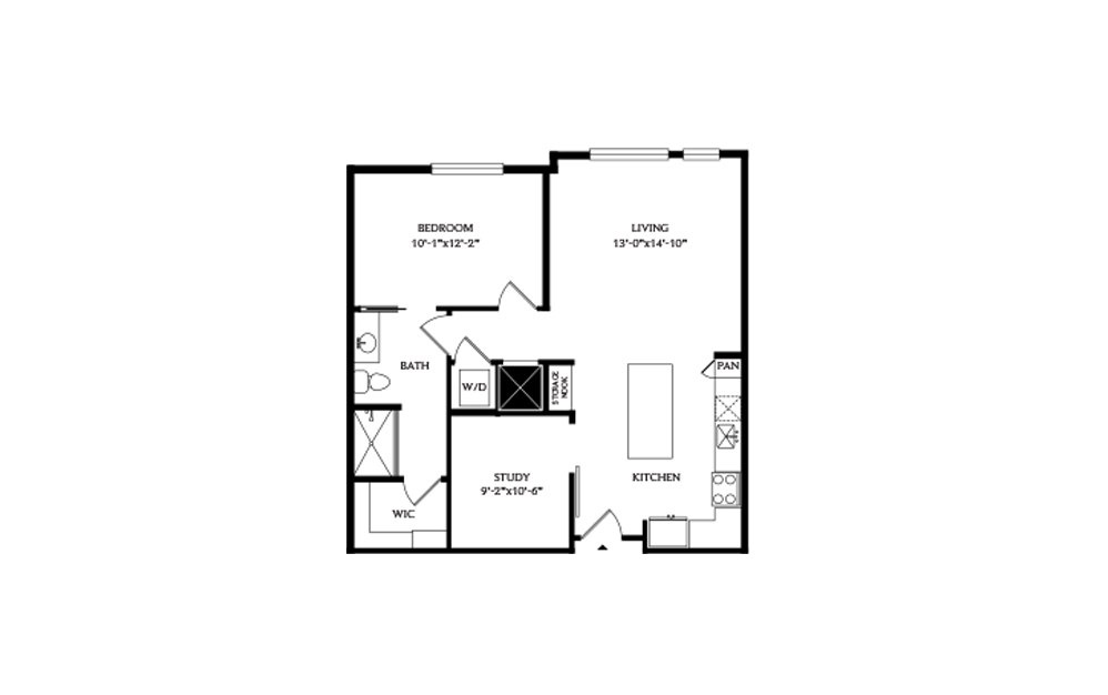 1F - 1 bedroom floorplan layout with 1 bath and 880 square feet.