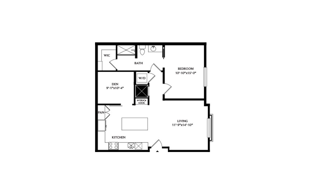 1G - 1 bedroom floorplan layout with 1 bath and 895 square feet.