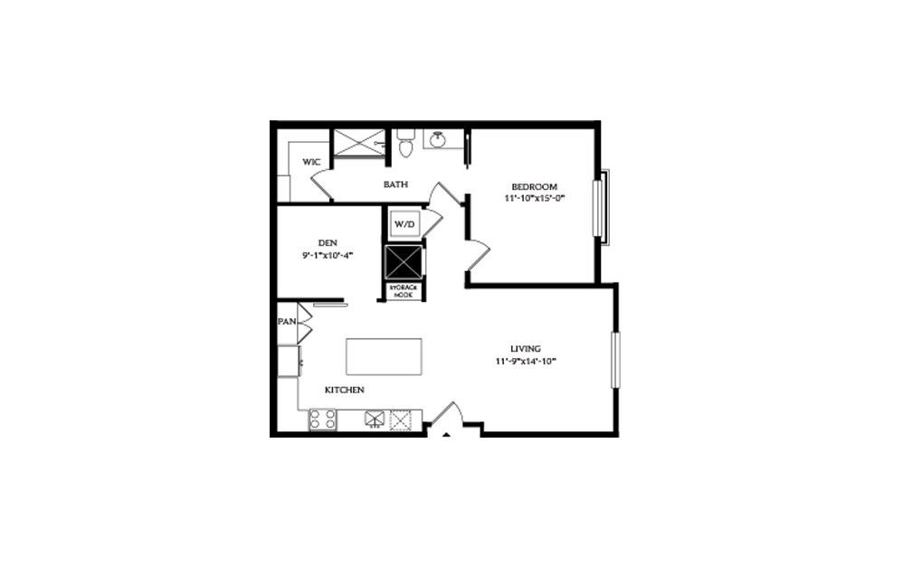 1G.1 - 1 bedroom floorplan layout with 1 bath and 907 square feet.
