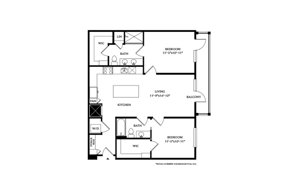 2A - 2 bedroom floorplan layout with 2 baths and 1075 square feet.