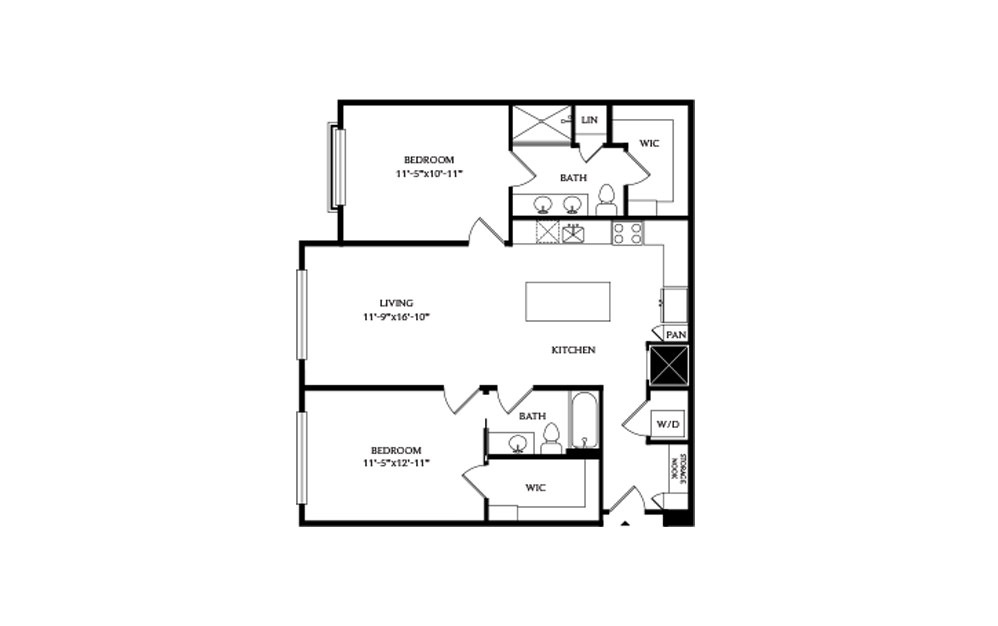 2A.1 - 2 bedroom floorplan layout with 2 baths and 1171 square feet.