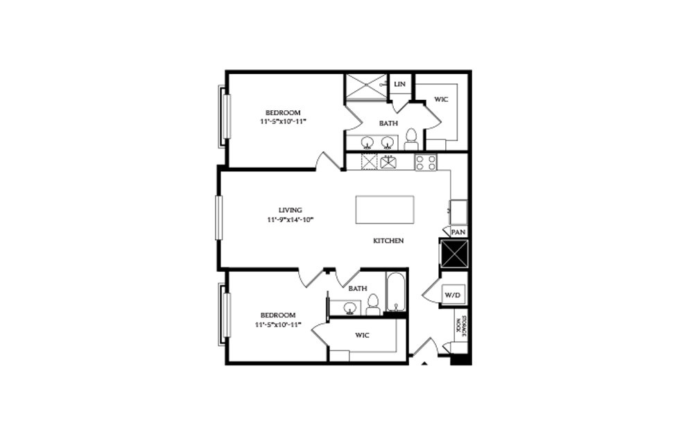 2A.2 - 2 bedroom floorplan layout with 2 baths and 1088 square feet.