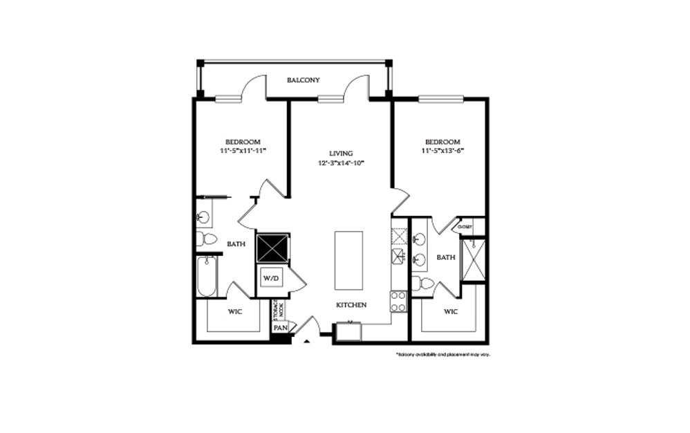 2B - 2 bedroom floorplan layout with 2 baths and 1075 square feet.