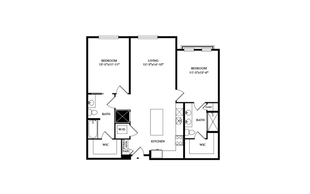 2B.1 - 2 bedroom floorplan layout with 2 baths and 1171 square feet.