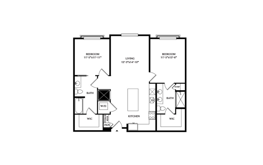 2B.2 - 2 bedroom floorplan layout with 2 baths and 1088 square feet.