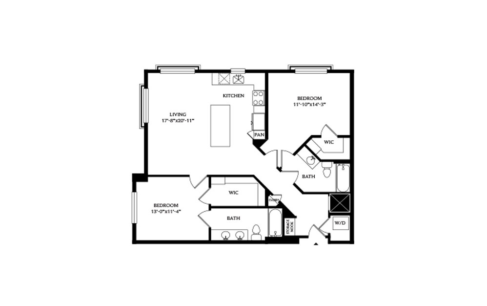 2C - 2 bedroom floorplan layout with 2 baths and 1099 square feet.