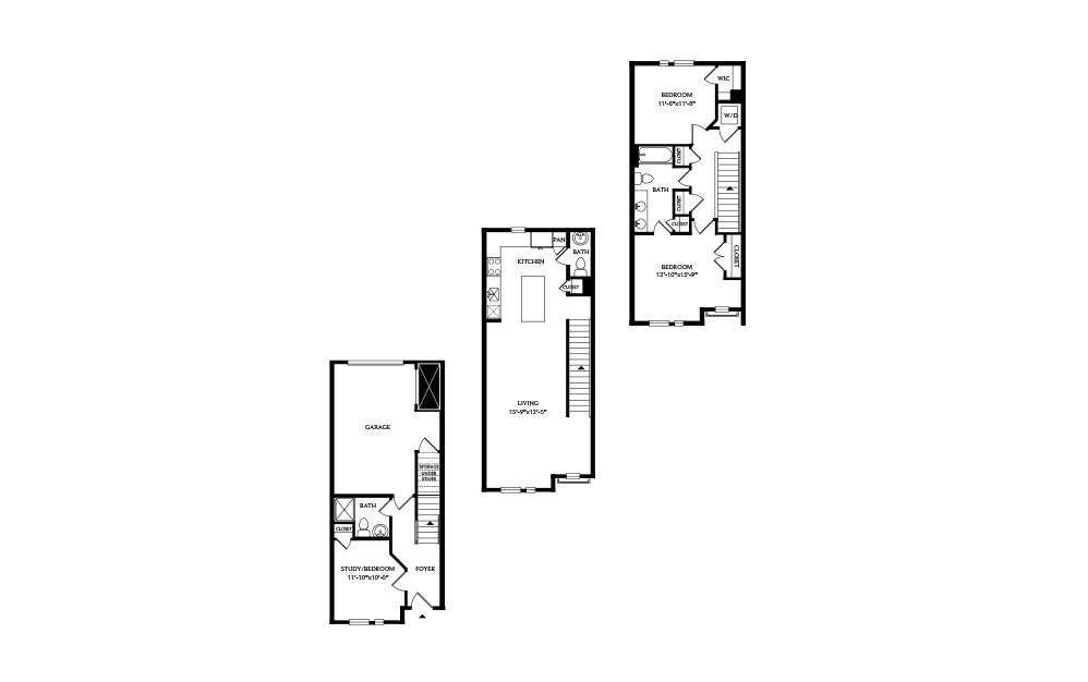 3B.3 - 2 bedroom floorplan layout with 2.5 baths and 1788 square feet.