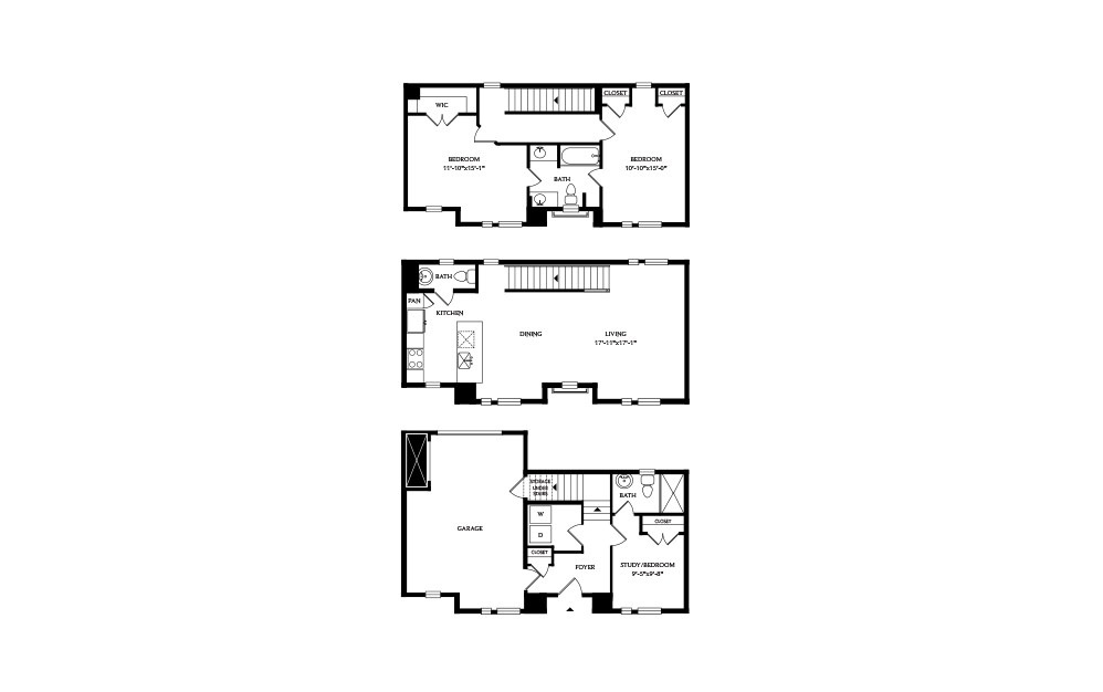 3C - 2 bedroom floorplan layout with 2.5 baths and 1947 square feet.