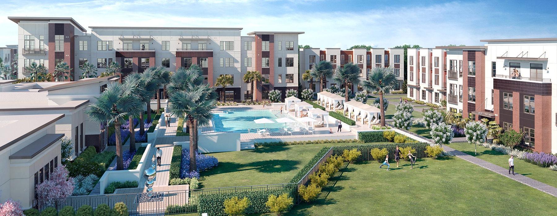 aerial rendering of pool area